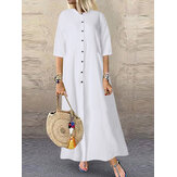 Frauen lässig solide lange Button Down Shirt Split Kaftan Kleid