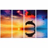 4 Pcs / ensemble Dauphin Coucher Du Soleil Mer Mur Peintures Décoratives Impression Sur Toile Art Photos Sans Cadre Tenture Murale Décorations pour Bureau À Domicile