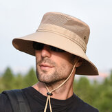 Men Women Summer Foldable Visor Bucket Hat Fishing Hat Outdoor Climbing Mesh Sunshade Cap