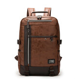 Men Faux Leather Large Capacity 16 Inch Laptop Bag School Bag Travel Backpack