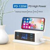 Bakeey Cargador PD USB de 120 W y 8 puertos 65 W USB-C PD3.0 18 W QC3.0 LED Estación de carga de escritorio digital Pantalla + Cargador inalámbrico de 10 W Almohadilla de carga inalámbrica rápida + LED Luz nocturna