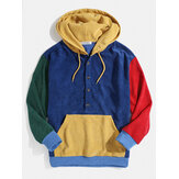 Mens Corduroy Colorblock Patchwork Half Button Pouch Pocket Drawstring Hoodies