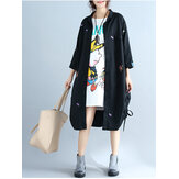 Plus Maat Vrouwen Casual Cardigan Loose Long Sleeve Embroidery Dress