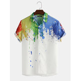 Mens Splash inkt aquarel print korte mouw Beach Party Business casual shirts