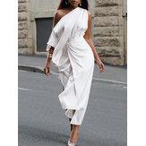 Frauen einfarbig ärmellos One schulterseitiger geteilter Gürtel im europäischen Stil Maxi Kleid