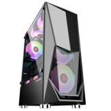 GAMEKM ATX Tower Bilgisayar Oyun Kılıf Geniş Özel Şekilli Su Soğutma Masaüstü Desteği M-ATX / ITX Anakart PC için