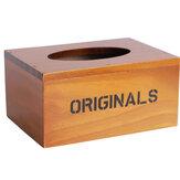 Tecido de madeira antigo do vintage Caixa Suporte de papel trabalhado Sala de armazenamento Home Decor