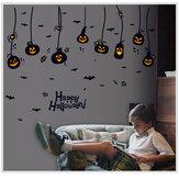 Adesivos de parede de PVC impermeável para Halloween, lanterna gótica de abóbora bruxa Padrão DIY creche infantil decoração de quarto