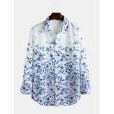 Blue And White Porcelain Floral Print Long Sleeve Casual Shirts