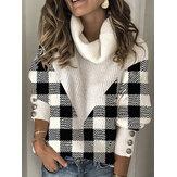 Mujer Alto Cuello Mangas de linterna de retazos a cuadros Plus Tamaño suéter informal