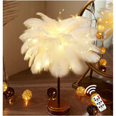 96LED Feather Desk Lamp Light Copper Modern Remote Control Lighting Bedside Lamp