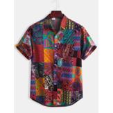 Mens coton motif ethnique imprimé floral chemises à manches courtes décontractées