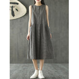Vintage Women Sleeveless Plaid Casual Long Shirt Cotton Midi Dress