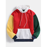 Mens Color Block Patchwork Design Long Sleeve Drawstring Hoodies