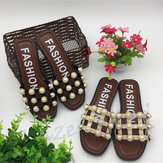 Summer Women Studded Pearl Strappy Sandals Gladiator Roman Casual Beach Sexy Party Flip Flops Slippe