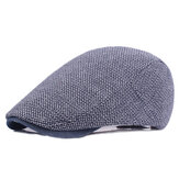 Mens Cotton Solid Beret Caps Casual Summer Sunscreen Forward Caps Flat Hat