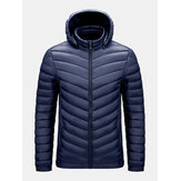 Mens Detachable Hooded Warm Long Sleeve Solid Color Down Jacket