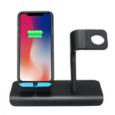 10W 2 in 1 Qi caricabatterie wireless ricarica veloce supporto per orologio del telefono per iPhone Samsung Huawei Apple Watch serie