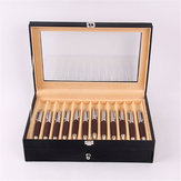 24 Pens Fountain Display Case Holder PU Leather Storage Collector Organizer Box Desktop Organizer