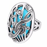 Ethnic Hollow Carve Ring Rhinestone Oval Geometric Rings