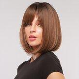 14 pouces noir dégradé brun court cheveux raides moelleux BOBO tête pleine perruque de couverture