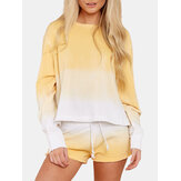 Ensemble de pyjama simple à manches longues à col rond dégradé jaune pour femmes