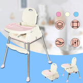 KUDOSALE 3 in 1 Adjustable Baby High Chair Table Convertible Play Seat Booster Toddler Feeding with Tray Wheel