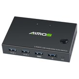 AIMOS USB HDMI Switch Box Video Display Display 4K Splitter KVM Switch cho 2 PC Share Switcher Bàn phím Chuột Máy in Cắm và chạy