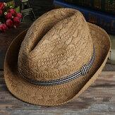 Visiera per cappello Fedora a tesa corta con protezione solare per cappello jazz in paglia intrecciata a mano da uomo