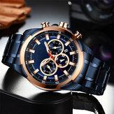 Deffrun Multifunción Business Style Men Reloj de pulsera Impermeable Reloj de cuarzo de acero inoxidable