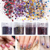 4 Potes 10ml Unhas Art Brilho Powder Sheet Sequins Sparkly Colorful Christmas Iridescent Acrylic Tips