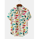 Mens Cartoon Bird Print Turn Down Collar Short Sleeve Shirts