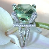 Elegant Green Gem Zircon Ring Wedding Crystal Silver Color R