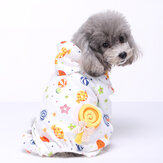 Pet Dog Soft Cloth Cotton Footprint Pajamas Puppy Jumpsuits Soft Clothing Clothes Dog Pajamas Coat