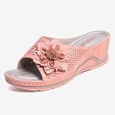 Sandali estivi casual LOSTISY con cinturino regolabile per decorazione floreale a fiori scava fuori