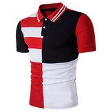 Camisa de golf con cuello vuelto para abajo de color con estilo para hombre de verano