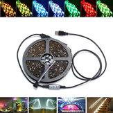 0.5 / 1/2/3/4 / 5M USB impermeable RGB SMD5050 LED tira de luz barra de TV de fondo de iluminación kit de lámpara DC5V