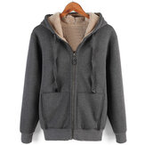 ChArmkpR Mens Winter Fleece dicke warme Kapuze Strickjacke Mäntel