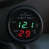 Voltímetro Termômetro do carregador do carro USB
