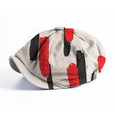 Banggood Design Men Thick Lines Pattern Fashion Casual Short Brim Octagonal Cap Beret Hat