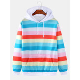 Mens Colorful Horizontal Stripes Loose Fit Drawstring Hoodies With Kangaroo Pocket
