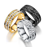 Trendy Stainless Steel Double Rhinestone Finger Ring for Men