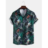 メンズホリデーバタフライリーフプリントラペル襟半袖シャツ