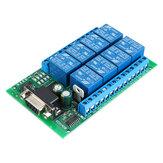R221A08 8CH-Relaismodul für serielle Schnittstelle DB9 UART RS232 Fernbedienungsschalter 12 V DC für Smart Home