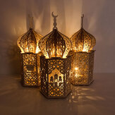 Islam Eid Ramadan Mubarak Dekoracja Drewniana złota lampka LED Lipa Nocne światło