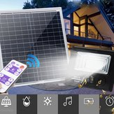 Bright Solar Powered 100 LED Flood Security Light Dimmable med fjernbetjening til Garden Wall Outdoor