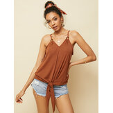 Women Solid Color Sleeveless Straps Bow-knot Tank Tops