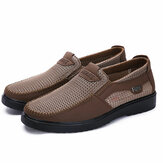 Homens Mão Costura Soft Sole Slip On Mesh Oxfords