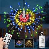Batterijvoeding 8 Modi 240 LED-opknoping Vuurwerk Fairy Wire String Light Christmas Wedding Decor Lamp