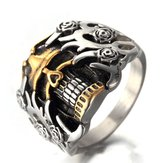 Men's Titanium Steel Ring Vintage Skull Head Punk Finger Ring for Men